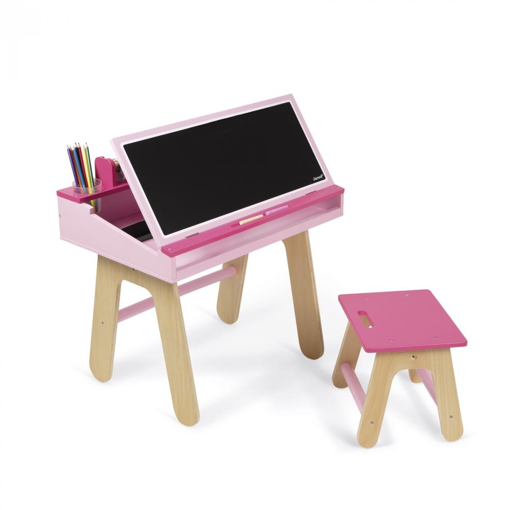 Pink School Desk Leikföng Barnaspil Spil Janod